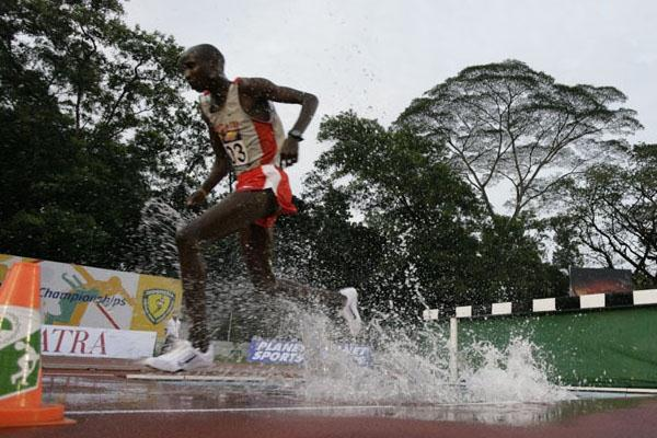Majed Saleh Bashir en route to the Asian junior title in the Steeplechase (organisers)