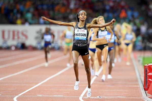 Sifan Hassan wins the 1500m at the IAAF Diamond League final in Zurich (Jiro Mochizuki)