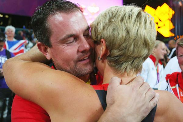 Christina Obergfoll celebrates with boyfriend Boris Henry after winning the silver medal at the 2012 Olympics (Getty Images)