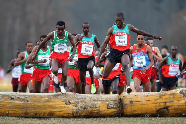 Joseph Ebuya on one of two jumps along the Bydgoszcz cross country course (Getty Images)