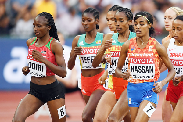 Hellen Obiri and Sifan Hassan in the 5000m at the IAAF World Championships London 2017 (Getty Images)