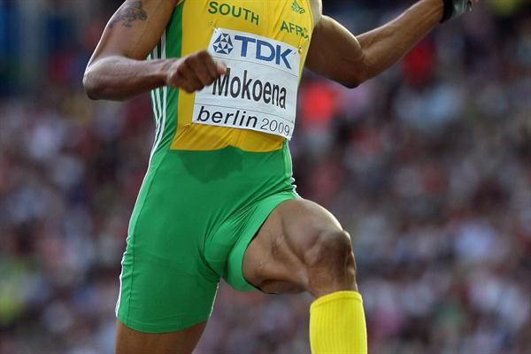 South Africa's Godfrey Mokoena on his way to the Long Jump silver medal in the Berlin Olympic Stadium (Getty Images)