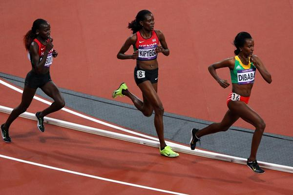 (L-R) Jepkemoi Vivian Cheruiyot of Kenya, Sally Jepkosgei Kipyego of Kenya and Tirunesh Dibaba of Ethiopia compete in the Women's 10,000m Final on Day 7 of the London 2012 Olympic Games on 3 August 2012 (Getty Images)