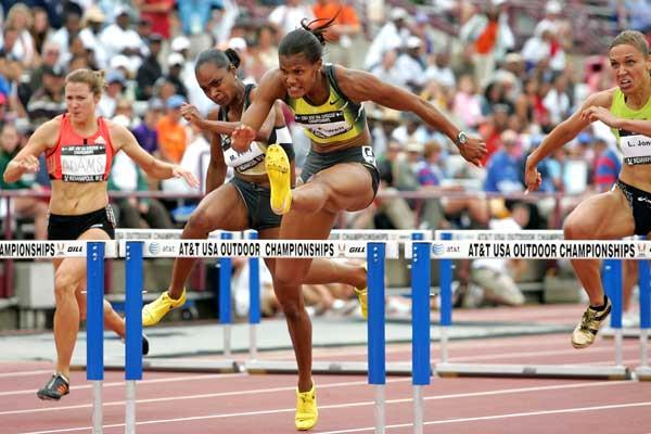 Virginia Powell on her way to 100m Hurldes win - USATF (Getty Images)