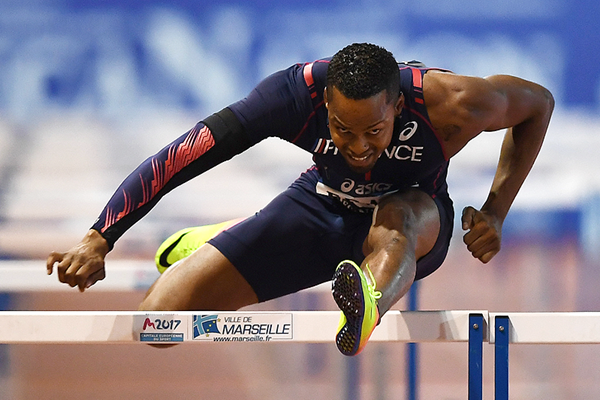 Dimitri Bascou in the 110m hurdles at the DecaNation meeting in Marseille (AFP / Getty Images)