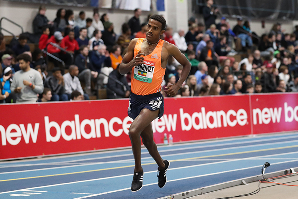Hagos Gebrhiwet on his way to winning the 3000m at the IAAF World Indoor Tour meeting in Boston (Victah Sailer)