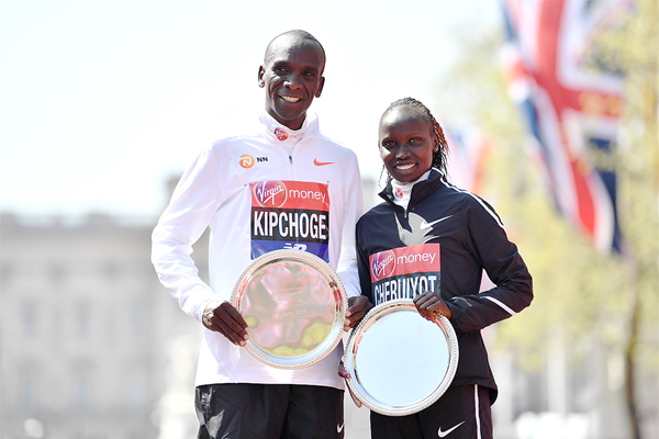 London Marathon winners Eliud Kipchoge and Vivian Cheruiyot (Getty Images)