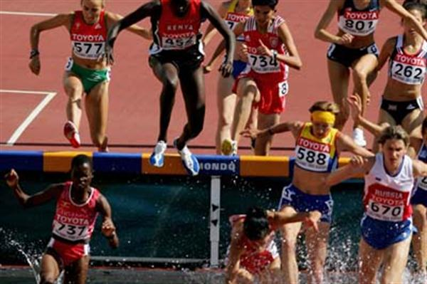 Dorcus Inzikuru of Uganda in the heats of the women's 3000m Steeplechase (Getty Images)