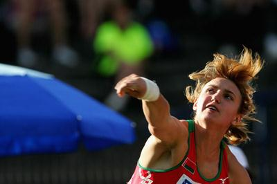 Aliona Hryshko of Belarus on her way to gold in the Shot Put final (Getty Images)