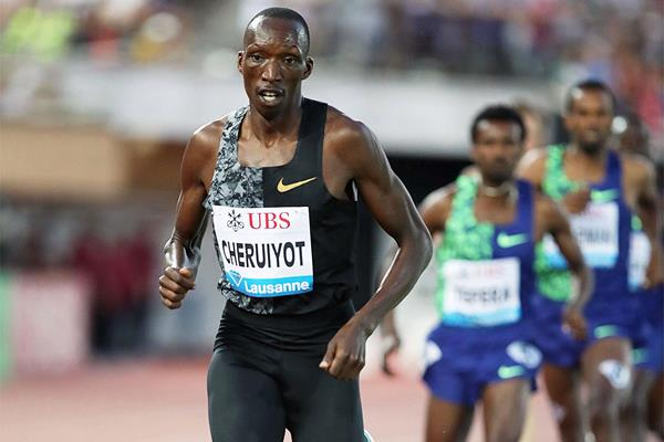 Timothy Cheruiyot on the way to a 1500m meeting record at the IAAF Diamond League meeting in Lausanne (Giancarlo Colombo)