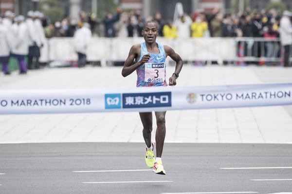 Dickson Chumba winning the 2018 Tokyo Marathon (AFP)