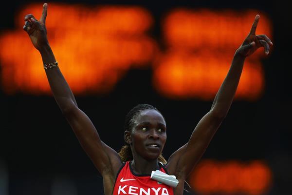Kenya's Joyce Chepkirui celebrates her victory in the 10,000m (Getty Images)