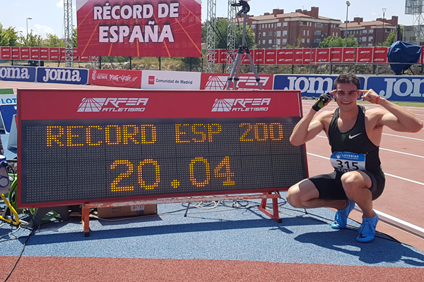 Bruno Hortelano after setting a national 200m record at the Spanish Championships (José Luis Hernández)