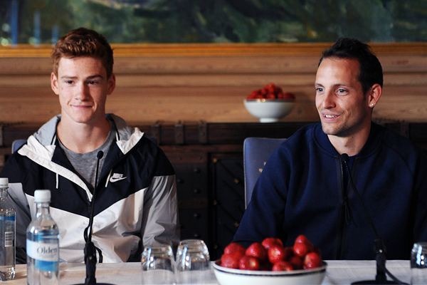 Shawn Barber and Renaud Lavillenie at the press conference for the IAAF Diamond League meeting in Oslo (Mark Shearman)