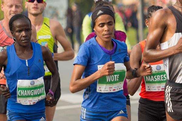 Purity Changwony and Shuko Genemo Wote in the 24th kilometre at the 2017 Ljubljana Marathon (Bob Ramsak)