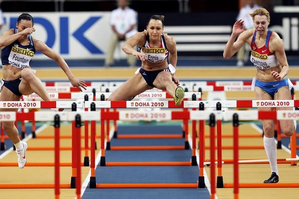 Jessica Ennis of Great Britain leads the field in the 60m Hurdles Pentathlon (Getty Images)