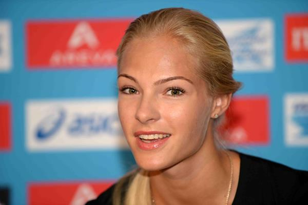 Darya Klishina ahead of the 2014 IAAF Diamond League meeting in Paris (Jiro Mochizuki)