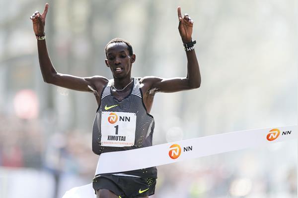 Marius Kimutai winning the Rotterdam Marathon (AFP)