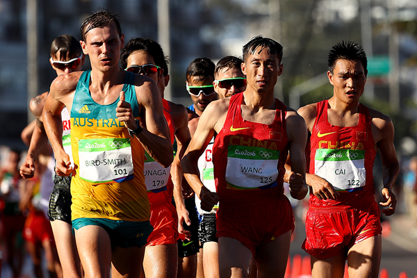 Dane Bird-Smith, Wang Zhen and Cai Zelin in the 20km race walk at the Rio 2016 Olympic Games (Getty Images)