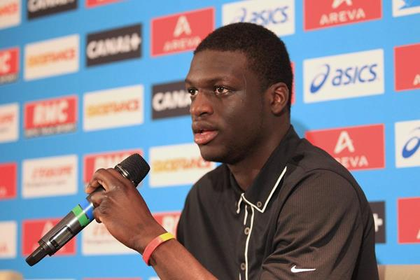 Kirani James at the pre-event press conference for the 2013 IAAF Diamond League In Paris (Jean-Pierre Durand)