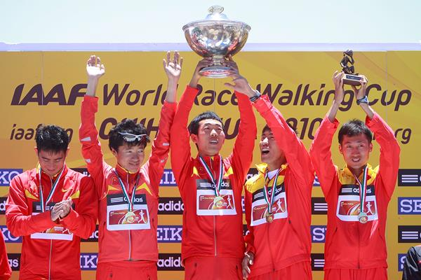 The Chinese team celebrates winning the 20km at the IAAF World Race Walking Cup Chihuahua 2010 (Getty Images)