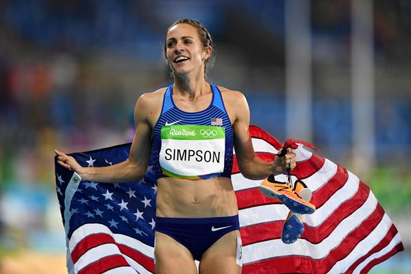 Jenny Simpson after winning the bronze medal in the women's 1500m at the 2016 Rio Olympic Games (Getty)