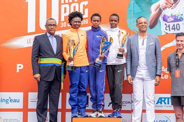 Port-Gentil 10km women's podium: runner-up Ruth Chepngetich, winner Sheila Chelangat and third place finisher Evaline Chirchir (Organisers)