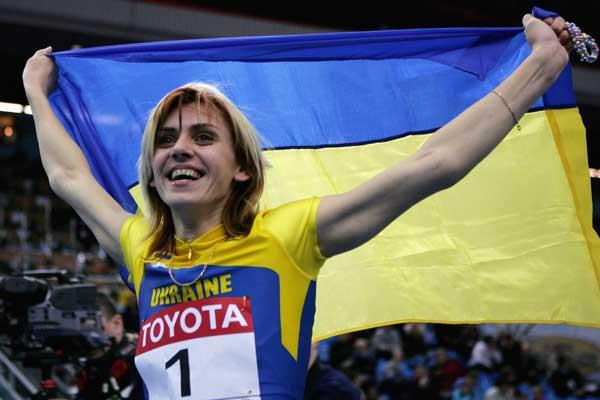 Lyudmila Blonska of Ukraine celebrates winning gold in the women's Pentathlon (Getty Images)