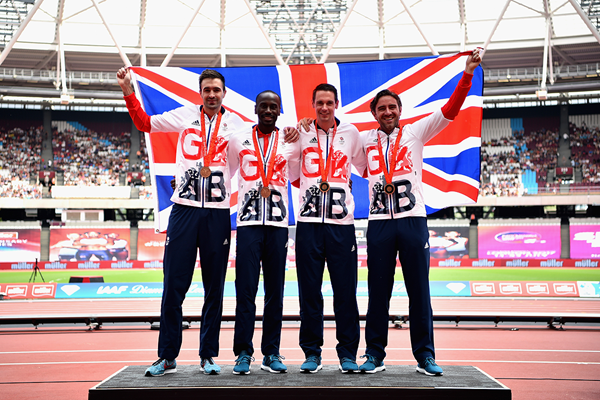 The British men's 4x400m team with their bronze medals from the 2008 Olympic Games (Getty Images)