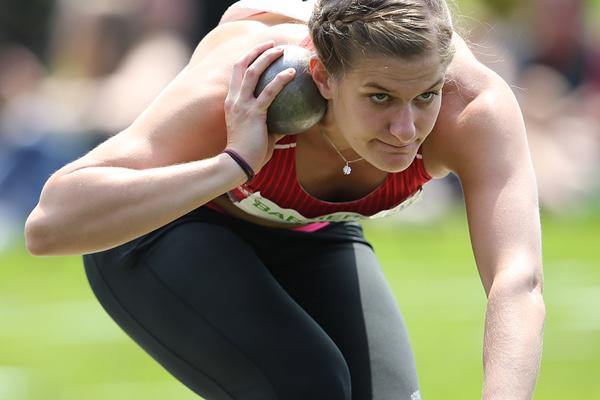 Germany's Anna Maiwald in the heptathlon shot put (Gladys von der Laage)