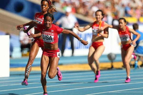 English Gardner in the womens 4x100m Relay at the IAAF World Championships Moscow 2013 (Getty Images)