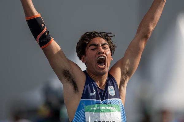 Gustavo Agustin Osorio of Argentina after the javelin competition at the Youth Olympic Games (Lukas Schulze for OIS/IOC)