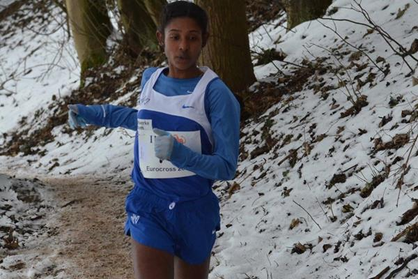 Ethiopia's Eleni Gebrehiwot in action at the 2013 ING Eurocross meeting in Diekirch, Luxembourg (Rosch Kohl)