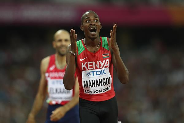 Elijah Manangoi reacts after winning the 1500m world title in London (Getty Images)