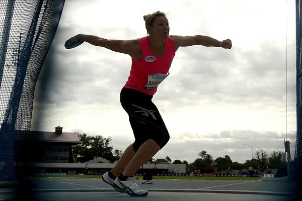 Dani Samuels at the IAAF World Challenge meeting in Melbourne (Getty Images)