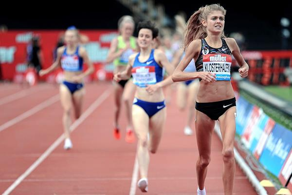Konstanze Klosterhalfen wins the mile at the IAAF Diamond League meeting in Birmingham (Mark Shearman)