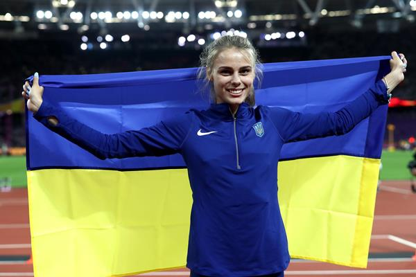 Yuliia Levchenko of Ukraine celebrates after the high jump final at the IAAF World Championships London 2017 (Getty)