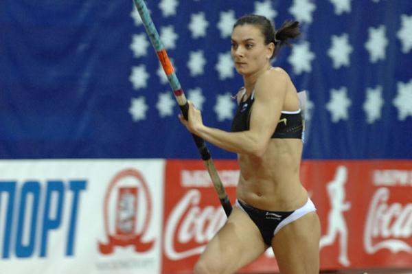 Youth Olympic Games Ambassador Yelena Isinbayeva in her 2010 debut in Moscow (Nikolay Matveev)