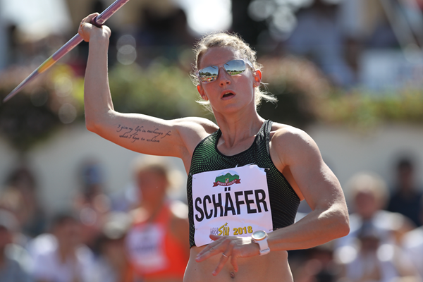 Carolin Schäfer in the heptathlon javelin at the Decastar meeting in Talence (Jean-Pierre Durand)