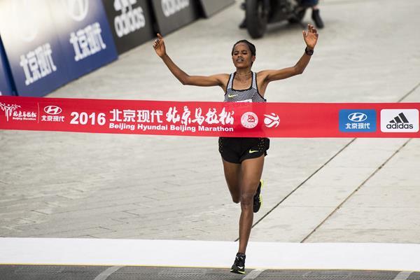 Meseret Mengistu wins the 2016 Beijing Marathon (organisers)