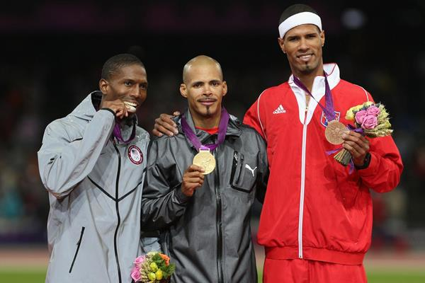 Michael Tinsley, Felix Sanchez and Javier Culson on the 400m Hurdles podium at the 2012 London Olympics (Getty Images)