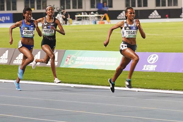 Gudaf Tsegay wins the 1500m at the IAAF World Challenge meeting in Nanjing (Tony Dou)