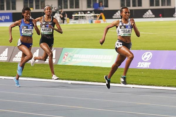 Gudaf Tsegay wins the 1500m at the IAAF World Challenge meeting in Nanjing (Tony Dou)