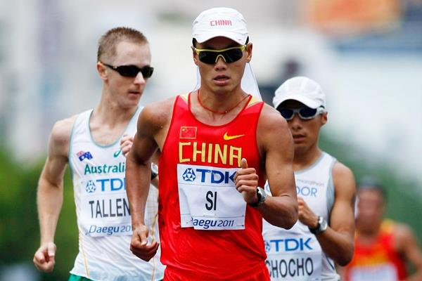 Chinese race walker Si Tianfeng in action at the 2011 World Championships (Getty Images)