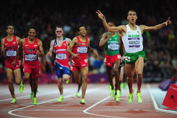 Taoufik Makhloufi of Algeria wins the gold in the Men's 1500m Final on Day 11 of the London 2012 Olympic Games at Olympic Stadium on August 7, 2012  (Getty Images)