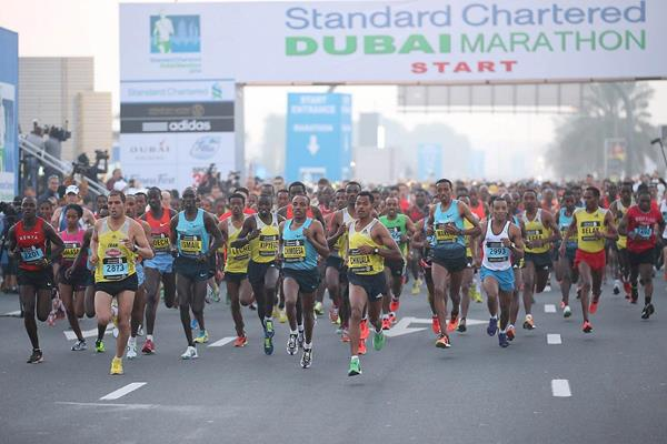 The leading runners as the 2014 Standard Chartered Dubai Marathon gets underway (Organisers / Giancarlo Colombo)