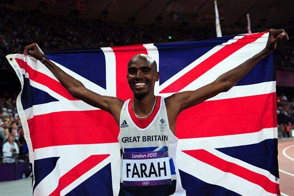 Mo Farah of Great Britain celebrates winning gold in Men's 10,000m Final on Day 8 of the London 2012 Olympic Games at Olympic Stadium on August 4, 2012  (Getty Images)