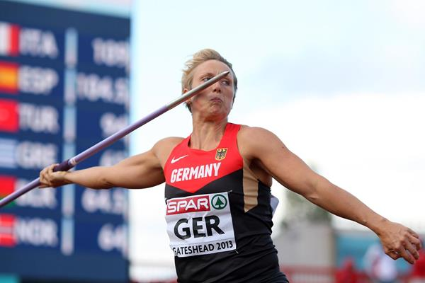 Christina Obergfoll wins the Javelin at the 2013 European Team Championships (Getty Images)