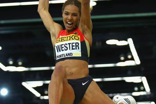 Alexandra Wester in the long jump at the IAAF World Indoor Championships Portland 2016 (Getty Images)