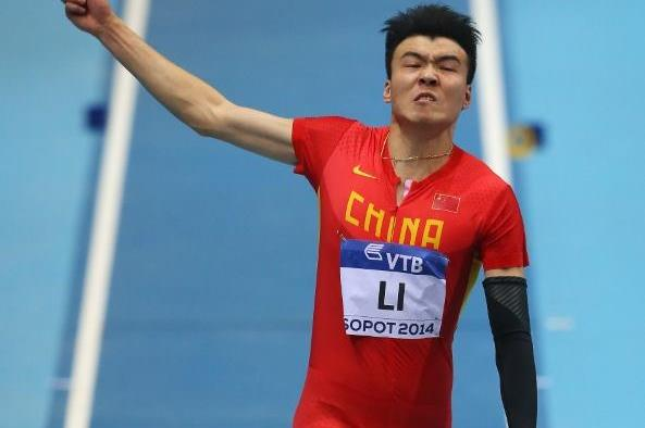 Li Jinzhe in the long jump at the 2014 IAAF World Indoor Championships in Sopot (Getty Images)